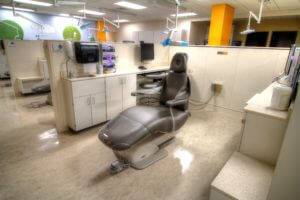 Dental Science Building University of Iowa - Dental Chair with White Cabinets