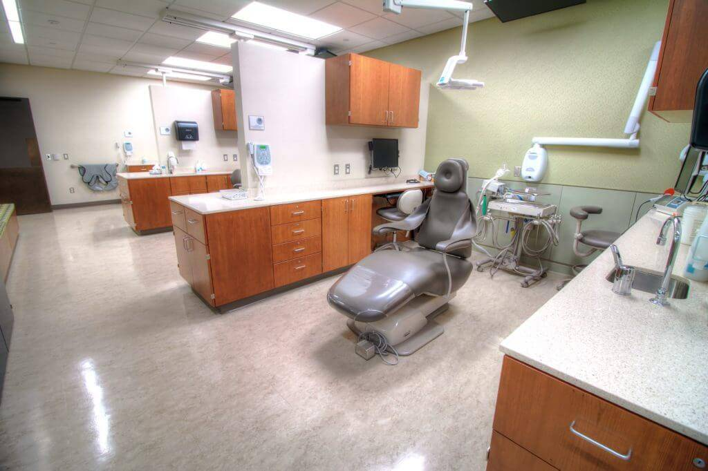 Dental Science Building University of Iowa - Dental Chair with Wood Cabinets