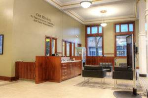 Midwest One Bank in Iowa City - Lobby with New Wood Cabinets by McComas Lacina