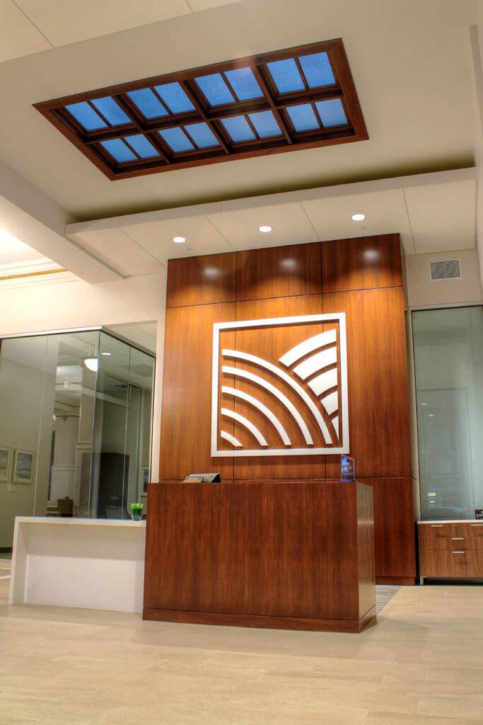 Midwest One Bank Reception Desk - Made from Wood Cabinetry by McComas-Lacina Construction